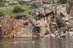 Enjoying the mineral enriched benefits of Lake Voulagmeni